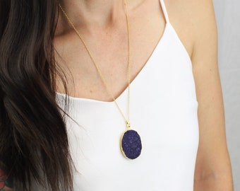 Druzy Necklace, Long Necklace, Necklaces for Women, Womens Gift, Gemstone Necklace, Gold Necklace, Long Pendant Necklace, Boho Necklace