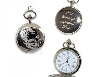 Chinese Dragon Pocket Watch Roman Numerals Gift for Best Man, Usher, Groom, Custom Engraved Birthday, Wedding or Anniversary Gift for Him