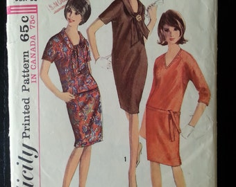 Simplicity 6080 authentic vintage printed pattern from 1965 - Misses' one-piece dress - size 18 bust 38