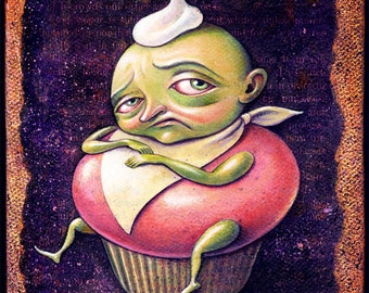 Funny kitchen art print, Enlarged, Sweet and Sour: Funny cupcake art, Gluten free cup cake, sugar free diet inspiration,