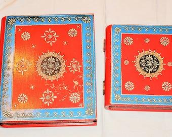 Bundles of 2 boxes of model storage book red wood