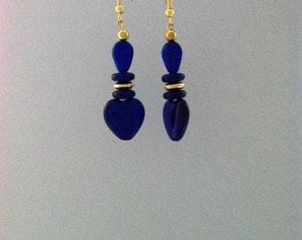 Blue Glass Heart Earrings