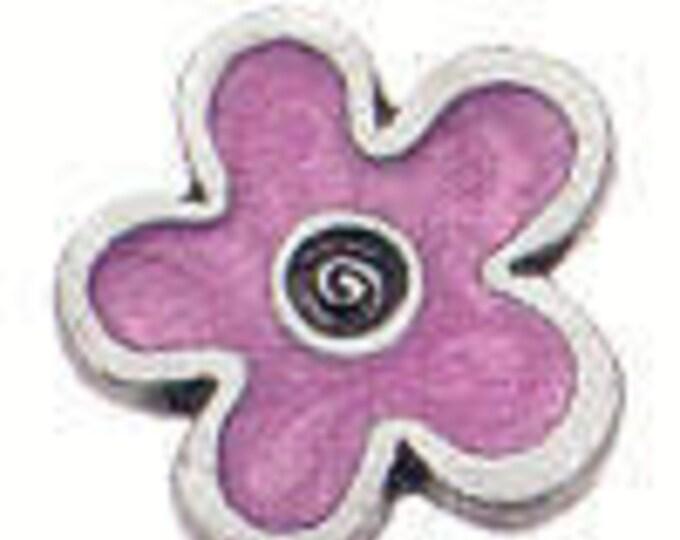 Pink Enamel Flower Danforth shank pewter button