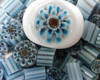 3D Flower Murrini, 104 COE,  Sky Blue