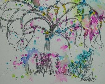 Watercolor Note Cards - No.  1132   Color Explosion