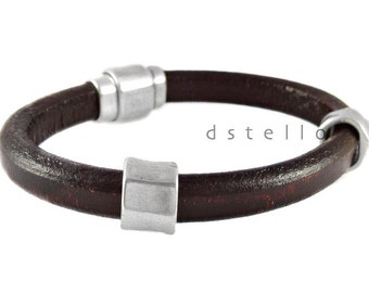 Fathers day gifts, Mens leather bracelet -   leather cuff with antique silver faceted beads -Anniversary gifts -  Strong magnetic clasp