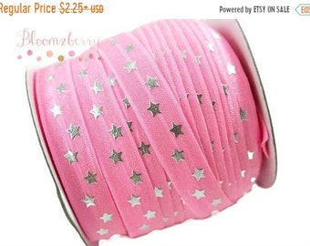 """ON SALE 30% OFF 5/8"""" Printed Fold Over Elastic - Pink Silver Stars - Pink Elastic Fold Over - Printed Fold Over Elastic -  Hair Accessories"""