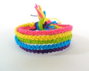 Neon Rainbow Friendship Bracelet Set -  5 Friendship Bracelets
