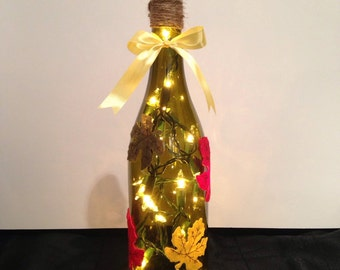 Fall leaves wine bottle lamp, autumn decor, fall decorations, accent lamp