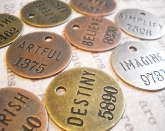 Assorted Charms Word Charms Pendants Inspirational Charms Assorted Metals Copper Silver Bronze Philosophy Tags-12pcs PREORDER
