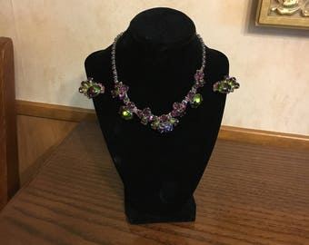 Watermelon Stone Necklace and Earring Set Rare Vintage