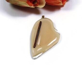 Beige Dichroic Heart Pendant Handmade Fused Glass Gold