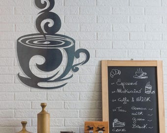 Coffee Cup Metal Wall Art
