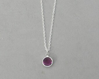 8 mm February Birthstone- Amethyst Drop Necklace Gold or Silver plated