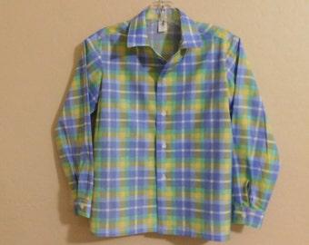 Boys Cotton Plaid Long Sleeve Shirt
