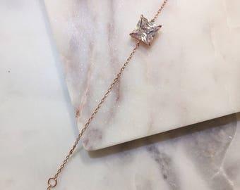 Rose Gold Bracelet Diamond Bracelet Wedding Bracelet Dainty Bracelet Delicate Bracelet Charm Bracelet CZ Bracelet Gift For Her