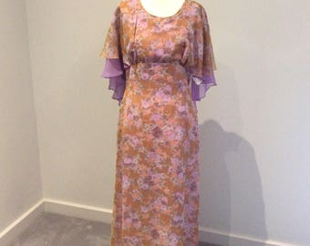 Vintage 1970's maxi dress by Camette of NZ, UK size 12