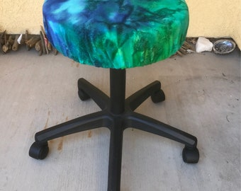 Stool cover, massage, ocean, tye dye, office chair, therapist, mermaid, dreamcatcher, blue, green, mystical, magical, moon, purple, stars