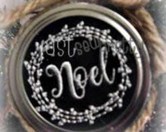 Mason Jar Lid Ornament Noel Design