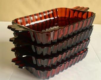 Rare red pressed glass rectangular appetizer or dessert plates, set of 4, vintage