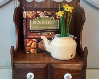 Vintage solid wood cookbook counter shelf with two drawers