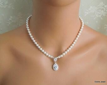 bridal necklace Pearl Necklace Ivory Swarovski Pearl crystal necklace Bridal Statement Necklace wedding Pearl Necklace cubic zirconia MILLA