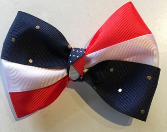 Patriotic Red White and Blue Ribbon Clip Bow