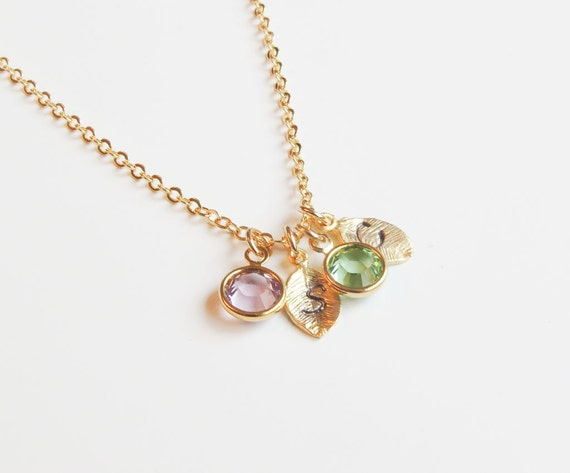 Tiny Initial Necklace | Birthstone Necklace | Gold Initial Necklace | Layering Necklace | Gift for Mom | Gift for Her