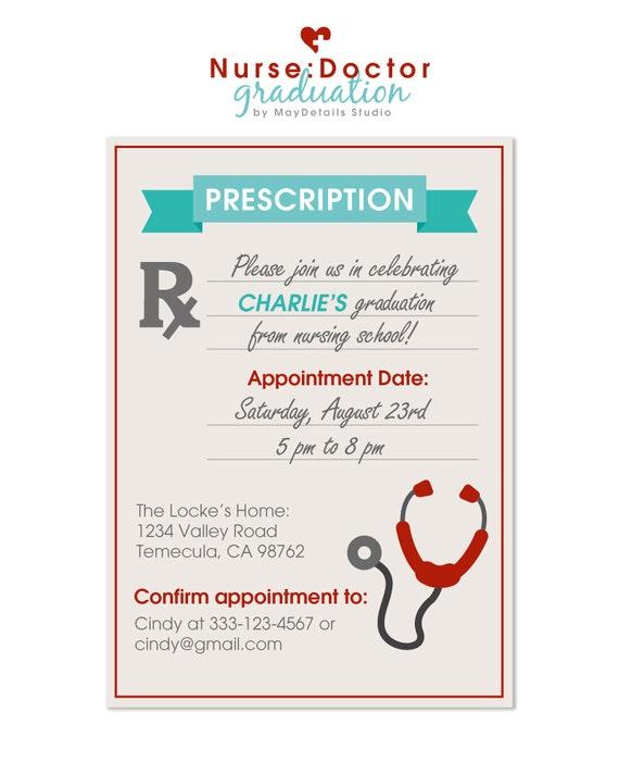 digital file nurse graduation party invitation doctor