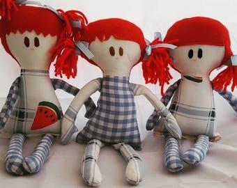 Handmade doll, rag doll, softie, birthday gift for girl, bedroom decor, nursery decor, babyshower