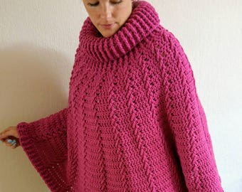 Bordeaux red purple poncho