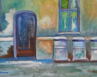 Blue Door - Original Watercolor Painting