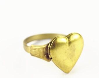 Heart ring locket vintage brass retro love adjustable