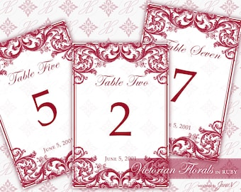 DIY Printable Wedding Table Number Template | Printable Table Setting Décor | Victorian Florals in Ruby