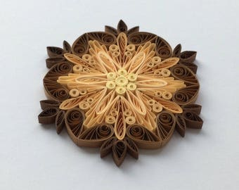 Quilled Snowflakes Paper Quilling Art Christmas Tree Decor Winter Hanging Ornaments Gifts Toppers Mandala Office Corporate Cream Brown