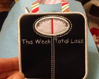 Weight loss scales - chalkboard fabric with chalk