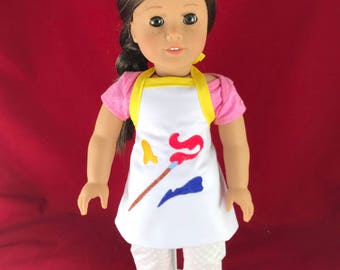 """Embroidered  Artist Apron for an 18"""" Doll  Painter"""