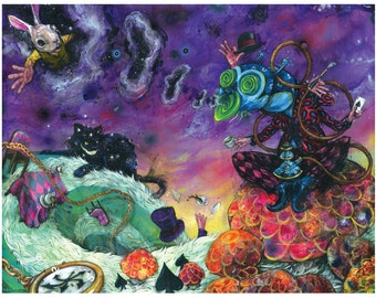 "Wonderland Art - Alice in Wonderland Poster Art - Surreal Art - Mixed Media Art - ""Wonderland"" by Black Ink Art"