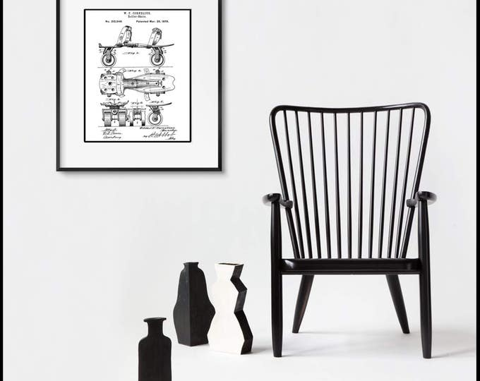 Rollerskate Patent Illustration, Matted and Framed or Just Matted and Ready for Your Frame
