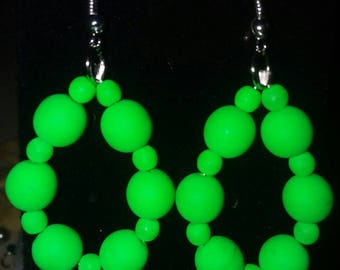 Neon green Hand crafted earrings.