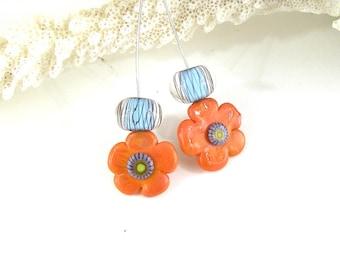 SRA Handwerker Lampwork Kunst Glas Blume Stifte set Pattylakinsmith Patty Lakinsmith abgestimmt Paare Koralle Türkis handgefertigt