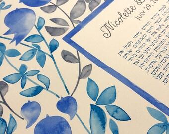 Modern Illuminated manuscript Watercolor Ketubah - EDEN GARDEN - custom painted Ketubah, Song of songs, שיר השירים