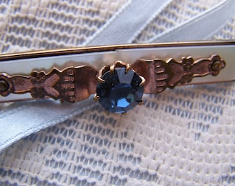 Vintage 40's Synthetic Sapphire Pin/Brooch Rose Gold Tone Bar