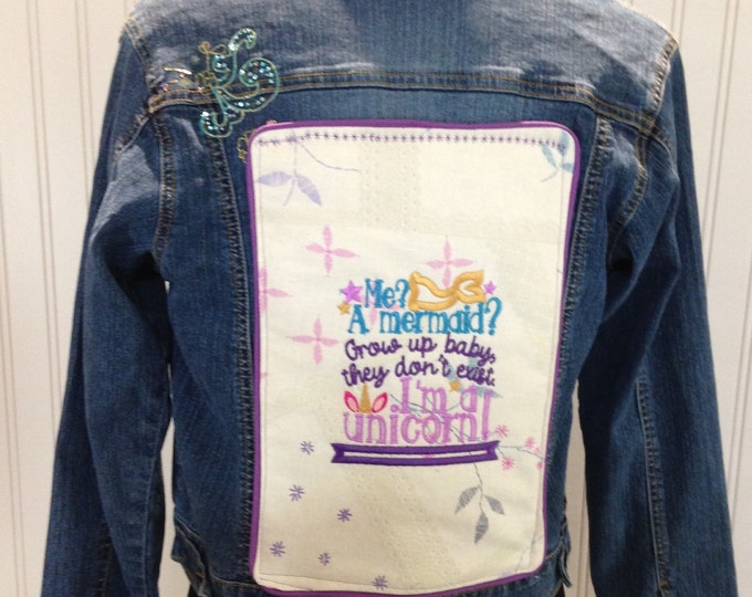 Girls denim jacket unicorn mermaid embroidered sequin sparkle flowers purple piping back embroidered quilt block unicorn saying upcycled