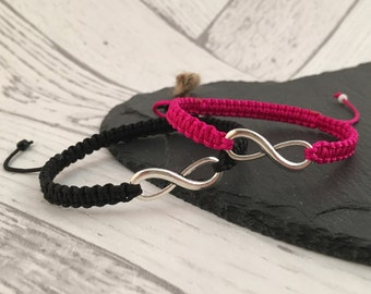 Couples Infinity Bracelets, Couples Jewellery, Matching Friendship Bracelets, His and Hers, His and His, Hers and Hers, Macramé Jewellery