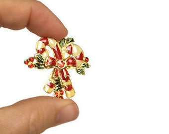 Candy cane brooch jelly enamel Christmas jewelry candycane and holly