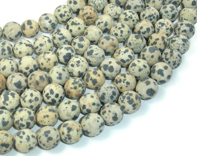 Matte Dalmation Jasper Beads, 10mm ( 10.5 mm) Round Beads, 15 Inch, Full strand, Approx 37 beads, Hole 1 mm, A quality (204054009)