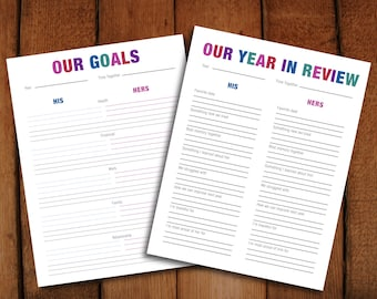 Our Goals + Year in Review New Years Eve Anniversary Printable Couples Activity PDF file