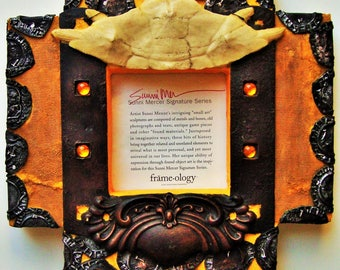 PHOTO FRAME Sculpture Wood Metal Sunni Mercer Mixed Media Assemblage Turtle Shell Victorian Drawer Pull Vintage Pic Frame-ology Series Art