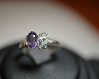 Rare purple Montana Sapphire Engagement Ring